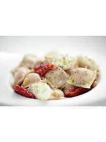 Tomato-mozzarella and black olive ravioli