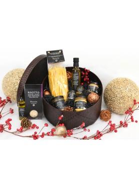 Grand coffret autour de la truffe - Boîte chapeau tressée marron