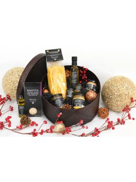 Large box around the truffle flavour - Brown braided hat box