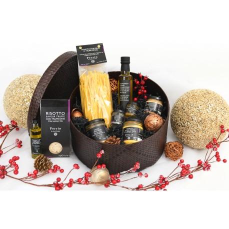 Large box around the truffle - Brown braided hat box